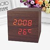 Zantec Elektronische LED Sound Sensor Holz Uhr Wecker mit Snooze Funktion Dekoration Geschenk
