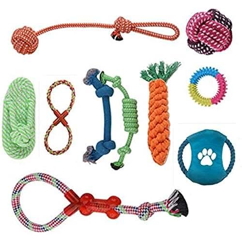 regalos tus mascotas mas kawaii ANPI Multiple Opción Juguetes para Perros, 100% Seguro Duradero Sin Tóxica Perro Interactivo Juguetes para Masticar,Juego de 10 piezas Regalo Para Mascotas Perros