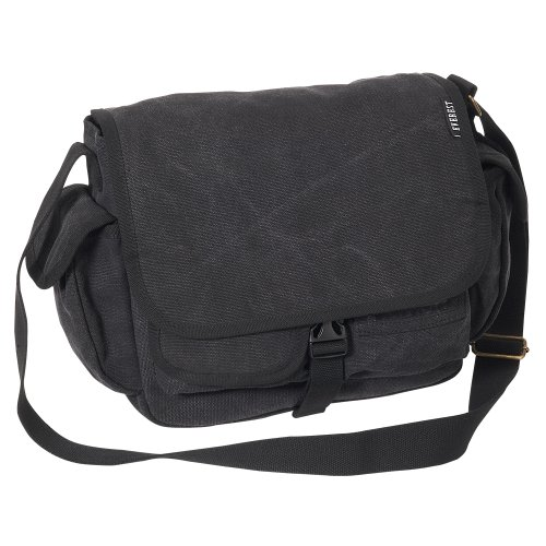 Everest Luggage canvas messenger bag, Charcoal (grigio) - CT073S-CCA Black