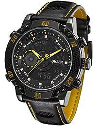 OHSEN Reloj Hombre Mujer Reloj De Pulsera Moda De Deportivo Multifunción Cronómetro Impermeable Digital Con Calendario Piel Genuina-Amarillo