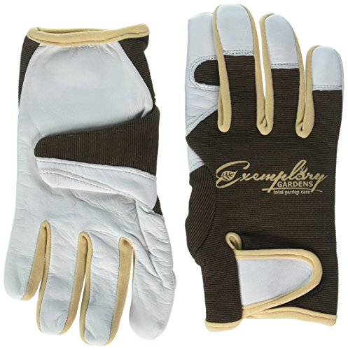 Leather Gardening Gloves for Women and Men. Adjustable Fastener and Breathable Spandex Back. Ideal for General Garden Tasks (Large)