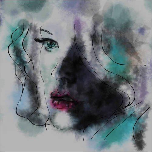 Acrylglasbild 120 x 120 cm: Gena Watercolour von Rosa Picnic - Wandbild, Acryl Glasbild, Druck auf Acryl Glas Bild