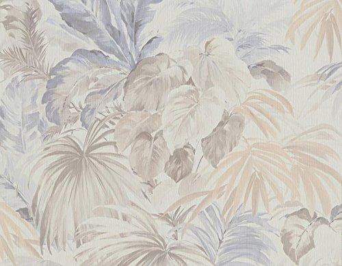Tapete Floral Tropische forest Boden Weiß und Blätter Taupe und Hellblau auf hochflorige A Relief Optik Faser. Flow 86219 - Faser-optik Floral