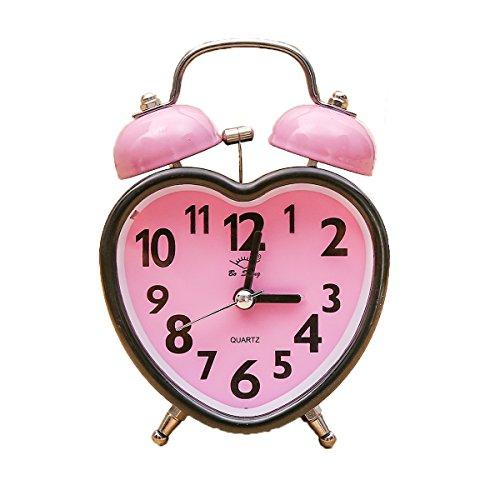 Kids Alarm Clock Silent Desk Travel Alarm Clock Cute No Ticking Twin Bell with Nightlight for bedrooms,Heavy Sleepers