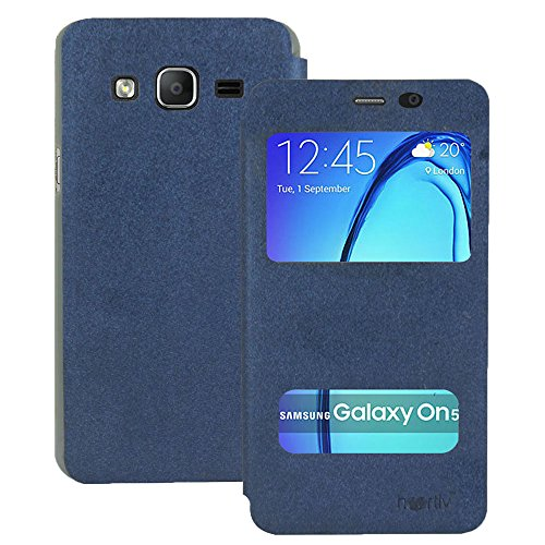 Heartly GoldSand Sparkle Luxury PU Leather Window Flip Stand Back Case Cover For Samsung Galaxy On5 / Samsung Galaxy On5 Pro - Power Blue