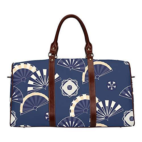 Reisetasche Fans im chinesischen oder japanischen Stil wasserdichte Weekender-Tasche Übernacht-Tragetasche Handtasche für Frauen Damen-Einkaufstasche mit Mikrofaser-Leder-Gepäcktasche