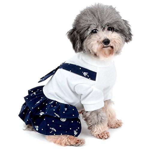 idung Outfit Weiche Baumwolle navy Sailor Hund Kleid und Overall Kostüm für Hund (Baby Rosa Pudel Kostüme)