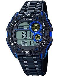 Calypso Herrenarmbanduhr Quarzuhr Kunststoffuhr mit Polyurethanband schwarz/blau digital K5670/8