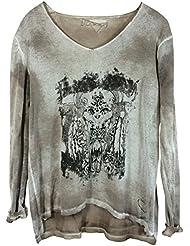 Damen Feinstrick Pullover mit Metallic-Effekt-Print und aufwendigem Farbverlauf in Vokuhila-Schnitt, MADE IN ITALY
