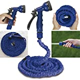 #2: Luvina 50 FT Expandable Garden Hose Water Pipe Flexible Hosepipe Water Spray Gun (50FT, Blue)