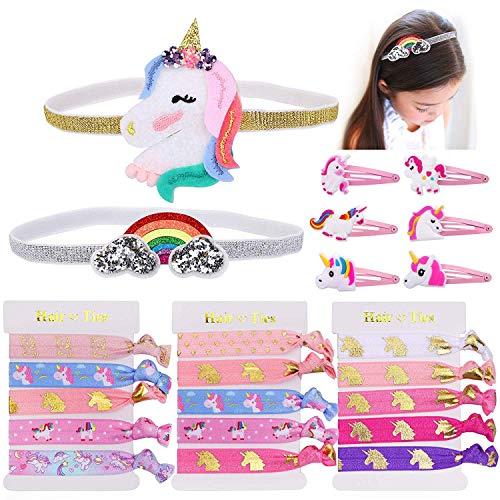 gummis haarklammern mädchen Regenbogen Einhorn Stirnbänder Haaraccessoires für Mädchen Kinder ()