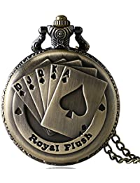 Lepakshi Xmas Gift Vintage Antique Bronze Copper Royal Flush Poker Cards Pocket Watch Clock Necklac