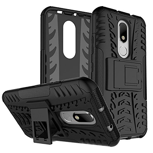 Qzey Tough Hybrid Flip Kick Stand Spider Hard Dual Shock Proof Rugged Armor Bumper Back Case Cover For Motorola Moto-M - Rugged Black  available at amazon for Rs.185