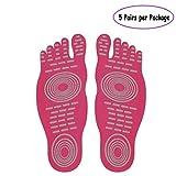 Barefoot Socken für Bewegung Beach Pool Füße, Wasser Schuh, Anti-Rutsch Yoga Socken, Aufkleber selbstklebend Fuß für Männer Frauen, Elastic Flexible Füße Schutz, Rot - Rose red(5 Pairs) - Größe: S