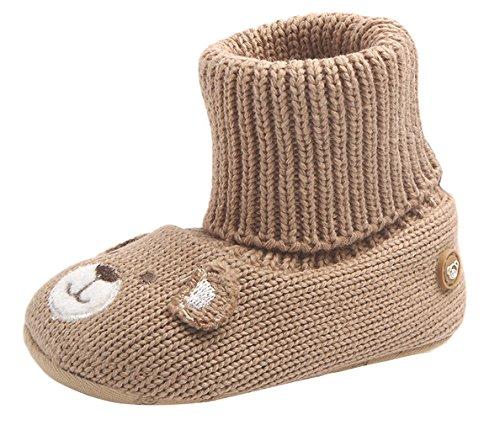 Agares Baby Schuhe Strickschuhe Erstlingsschuhe Hüttenschuhe Anti-Rutsch Socken Hausschuhe Bär, Braun, 11cm -