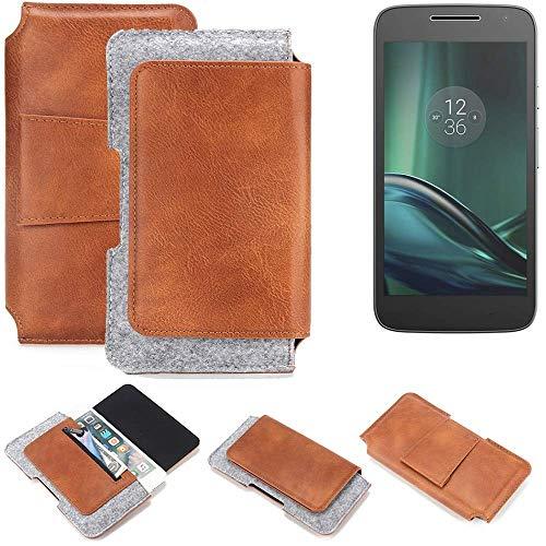 K-S-Trade Gürteltasche für Lenovo Moto G (4. Gen.) Play Gürtel Tasche Schutz Hülle Hüfttasche Belt Case Schutzhülle Handy Hülle Smartphone Sleeve aus Filz + Kunstleder (1 St.)
