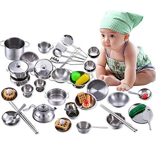 AOLVO Play Cooking Set -16, Prentend Play Kitchen Accessories with Stainless Steel Cookware Pots and Pans, Cooking Utensils, Fun Cut Vegetables Toy Fake Food Grocery Playset for Toddlers Girls Kids