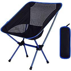 Sillas de camping plegables al aire libre Portable Moon Leisure Chair / Sillas de playa con bolsa de transporte para senderismo / Viajes / Caza / Pesca / Ligero / Picnic / dibujo silla plegable portátil (azul) Capacidad de carga de peso de hasta 265 lb / 120 kg
