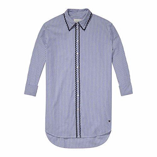 Maison Scotch Damen Bluse Striped Button Up Shirt 142139 Combo B L (Button-up Bluse Baumwolle)