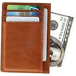 Mince Porte Carte de Crédit, Portefeuille en Cuir, Etui RFID Blocage Porte Carte de Crédit pour Poches avec fenêtre d'identification, Conception Compacte pour Hommes Femmes, Coffret Cadeau (Marron)