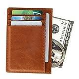 Leder Kreditkartenetui mit RFID Schutz, Kartenhalter, Kartenetui, Mini Geldbörse, Schlanke Brieftasche mit ID-Fenster, Geschenkbox (Braun)