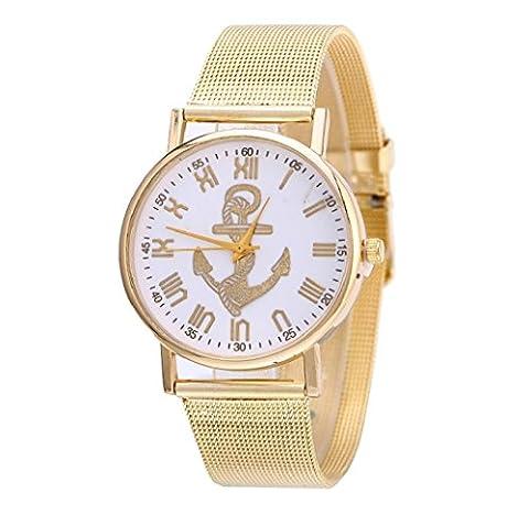 Tongshi Neue Mode Frauen Design Anker Muster Gold Uhren Dial