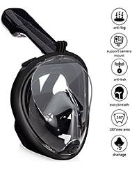 Zenoplige Masque de Plongée Schnorkel Plein Visage 180°visible Anti-Brouillard Anti-Fuite Snorkel Masque pour GoPro, Plein Visage Respiration Voir mieux que Les Masques Traditionnels