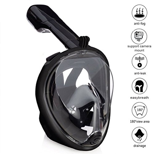 Produktbild Zenoplige 180 Full Face Tauchmaske Unterwasser Abnehmbare Trockene Tauchmaske Anti Fog Schnorcheln Set mit GoPro Kamera Mount Ear Plus