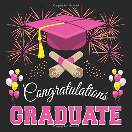 Graduation Guest Book: Congratulations Graduate GuestBook + Gift Log | Class of 2019 Graduation Party Memory Sign In Keepsake Journal | Black Pink Cover