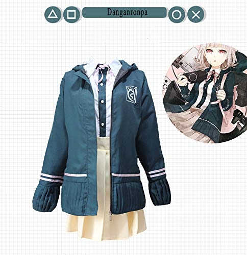 Vokaer Anime Dangan-Ronpa Chiaki Nanami Cosplay Costume High School Outfit Uniform Dress Dress Jacket Full Set School Uniform for Party,L
