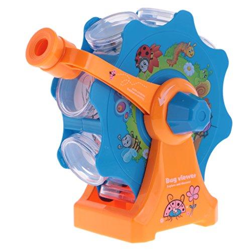 MagiDeal Kinder Mikroskop Kunststoff Insekten Beobachtung Spielzeug für Natur Entdecker - Blau + orange
