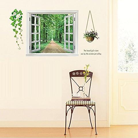 LLHZUO del 2016 nuevas pegatinas de pared DIY 3D Hermosa Ventana Vista del bosque Alley Tapiz Mural Art Decó Sala Infantil decoración decoración de hogar