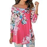 Produkt-Bild: Damen Langarmshirt, iHee Frauen aus Schulter Blumendruck Lose Elegant Casual Bluse Tops (L, Pink)