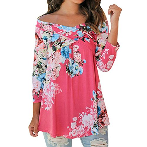 Damen Langarmshirt, iHee Frauen aus Schulter Blumendruck Lose Elegant Casual Bluse Tops (L, Pink)