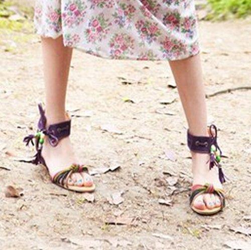 TAOFFEN Damen Bohemia Lace Up Low KeilabsatzHeel Summer Sandalen Violett