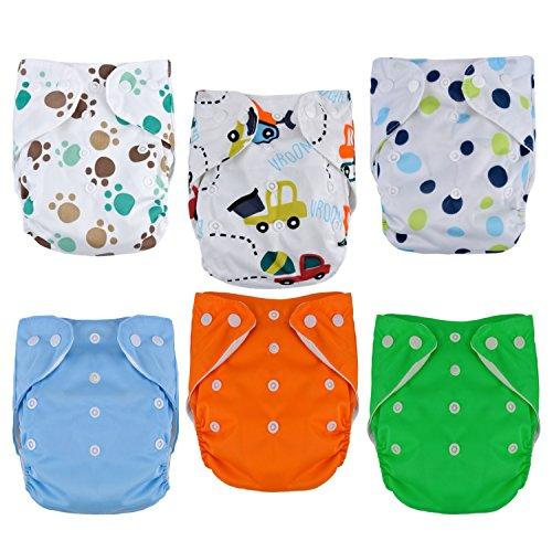 Zoylink 6PCS Tasche Windel Stoffwindel Einstellbare Wasserdichte Baby Pocket Windel Mit 10 Windeleinsatz 1 Wickeltasche