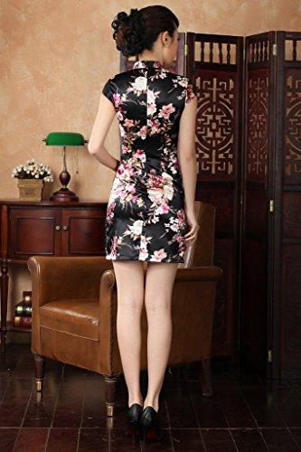 Smile YKK Femme Robe Cheongsam Qipao Aimable Chinoise Satin Noir