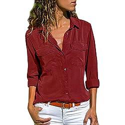 Camisas Mujer Casual, ❤️ Amlaiworld Camiseta de Cuello Alto de Solapa Casual para Mujer Camisetas de Manga Larga de Blusa de Hebilla para niña Camisas De Vestir (A Rojo, M)