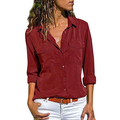 NEEKY Damen Freizeit Schlank Blusen - Frauen Lässig Langarm Button Front Shirt Umlegekragen Oberteile mit Taschen(EU:38/L, Rot)