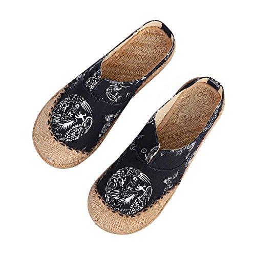 Unisex zuecos Couples sandalias Mules lino transpirable chanclas punta cerrada Confort Zapatillas...