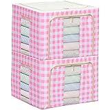 Ensemble de 2 boîtes de rangement pliable Boite de vêtement Boîte de finition durable, Rose Grille