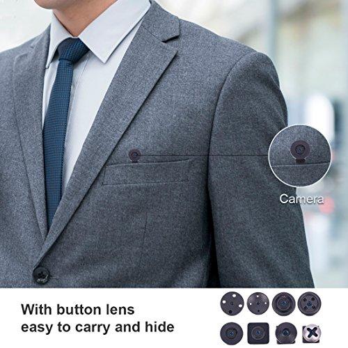 AOBO Camara Espia Oculta Boton HD Mini WiFi Cámara Portátil Inalámbrico Detección de Movimiento/Grabación de Bucle Cámara de Vigilancia Admite Tarjeta de hasta Bcamara de Seguridad para Casa Oficina
