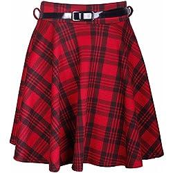 Purple Hanger-Falda escocesa corta de cuadros para mujer, con pliegues, estilo rock, con cinturón extraíbles nicht angegeben