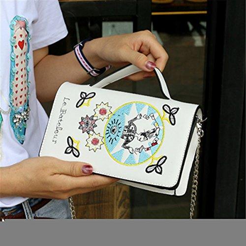 Reine farbe magnetische wölbung kleine quadratische damen damen personalisierte casual Schulter diagonale paket Weiß