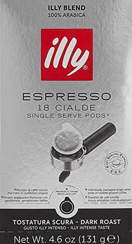 illy Kaffee, E.S.E. Kaffeepads Einzelportion, intensive Röstung - 2 Verpackungen mit je 18 Kaffeepads