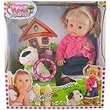 Dimian - Nena Pipi-Popo, muñeca con perro, color rosa y blanco (Claudio Reig BD334)