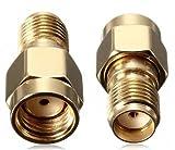 BlueBeach® Pack de 2 Adaptador de conector SMA macho convertidor (n Pin) a SMA hembra (n Pin) de antena enchufe coaxial coaxil