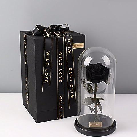 Rose Dome für Immer verzaubert Blume Rose Glas Halloween Geburtstagsgeschenk für Freundin Liebhaber, dunkel (Krone Für Weihnachten Szenen)