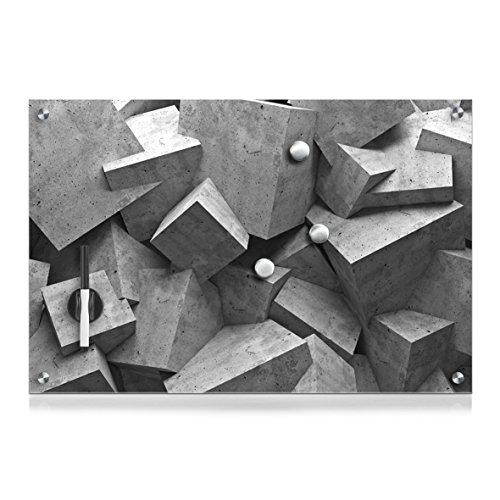 Zeller 11655 Memobord Cubes, Glas, ca. 60 x 40 x 2 cm - Glas-cube-bild
