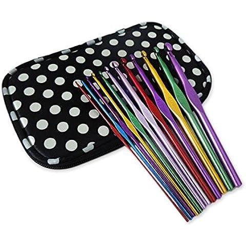 DSstyles 12 Pezzi Portable Colori Assortiti Alluminio misto Maniglia Uncinetto Maglieria Knit Ago Tessuto Filato con Cassa Modello Dot